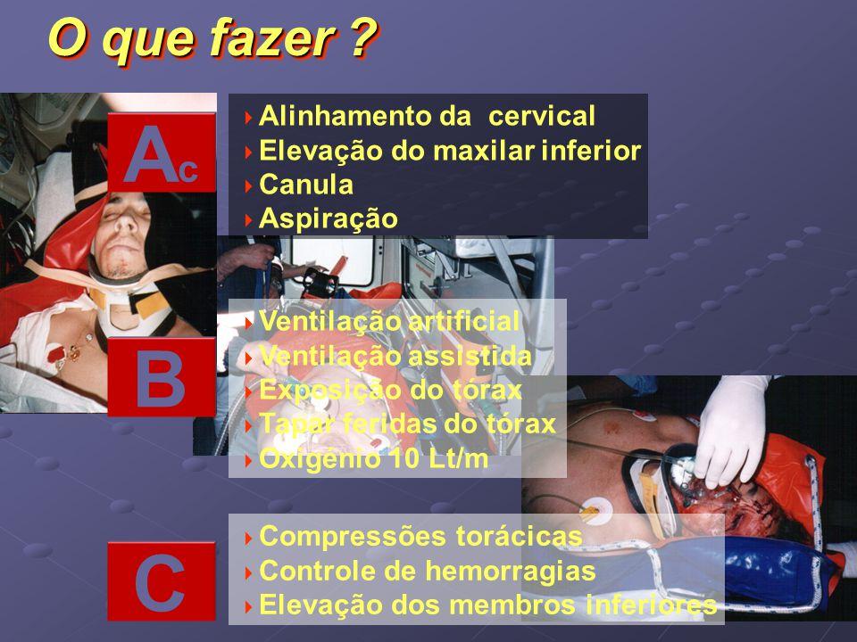 Alinhamento da cervical Elevação do maxilar inferior Canula Aspiração Ventilação artificial Ventilação assistida Exposição do tórax Tapar feridas do t