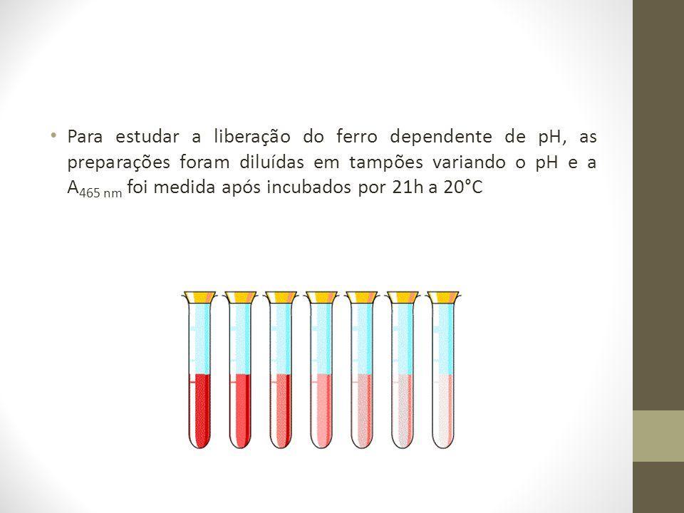 Para estudar a liberação do ferro dependente de pH, as preparações foram diluídas em tampões variando o pH e a A 465 nm foi medida após incubados por
