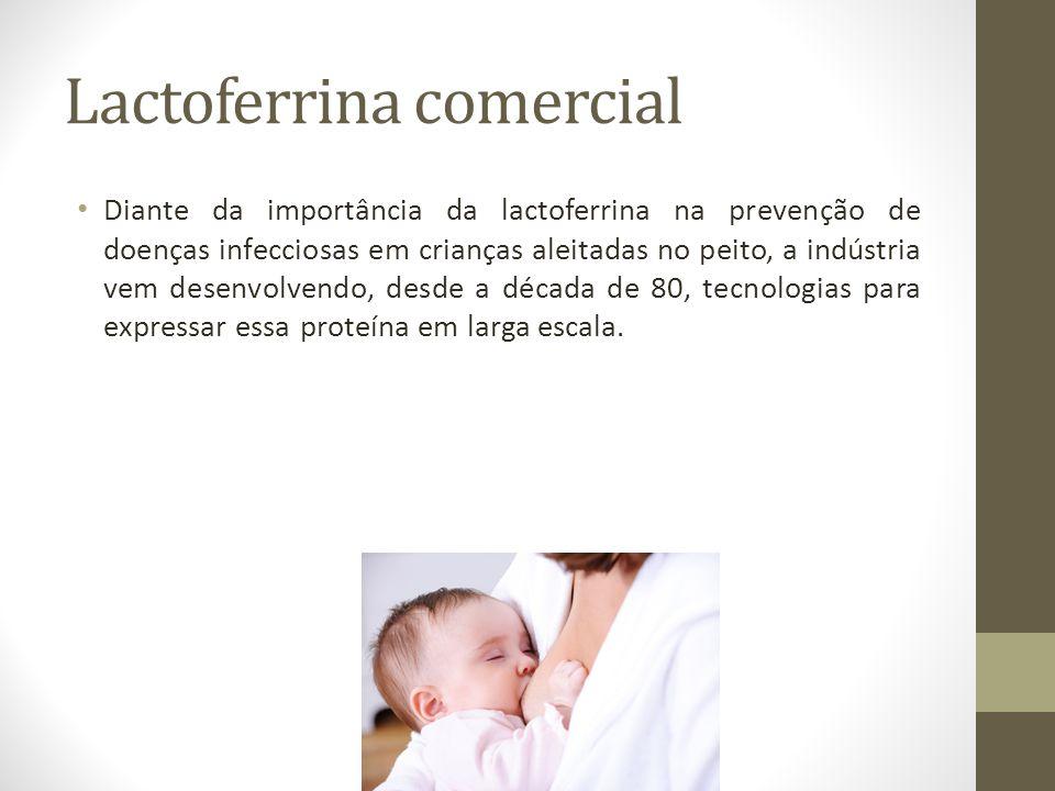 Lactoferrina comercial Diante da importância da lactoferrina na prevenção de doenças infecciosas em crianças aleitadas no peito, a indústria vem desen