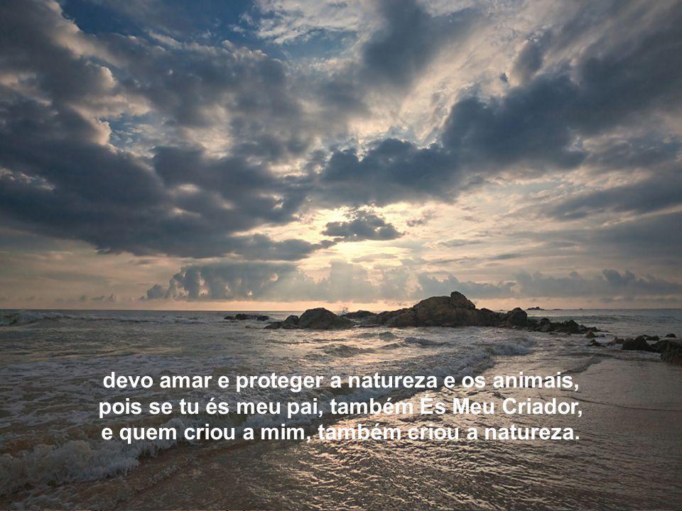 Texto Matriz devo amar e proteger a natureza e os animais, pois se tu és meu pai, também És Meu Criador, e quem criou a mim, também criou a natureza.