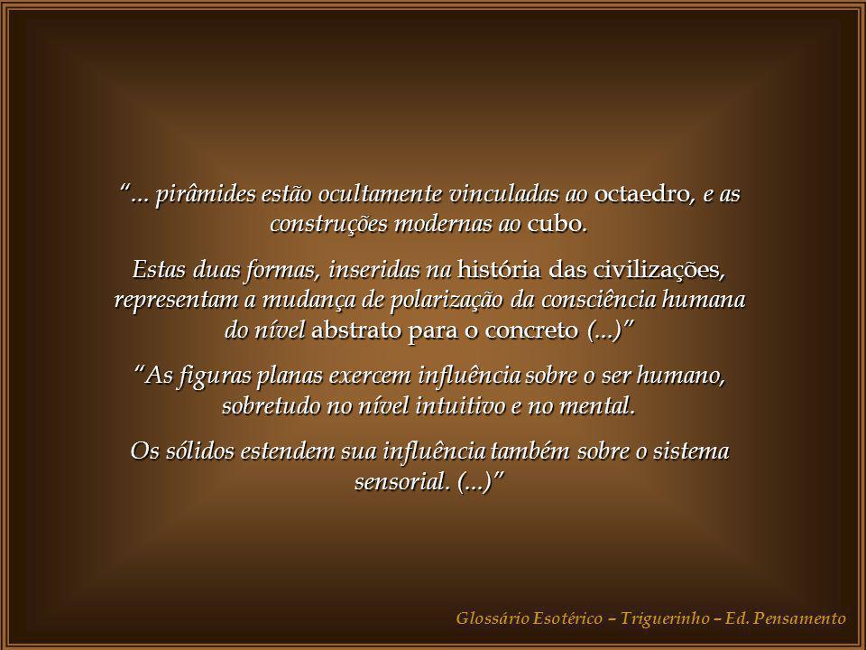 Nos níveis elevados da existência, níveis em que a unidade é vivida em plenitude, a Idéia correspondente aos sólidos e às figuras geométricas está sem