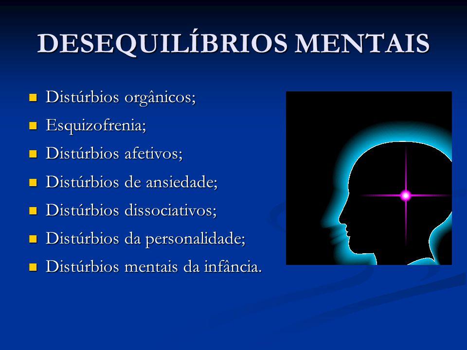 DESEQUILÍBRIOS MENTAIS Distúrbios orgânicos; Distúrbios orgânicos; Esquizofrenia; Esquizofrenia; Distúrbios afetivos; Distúrbios afetivos; Distúrbios