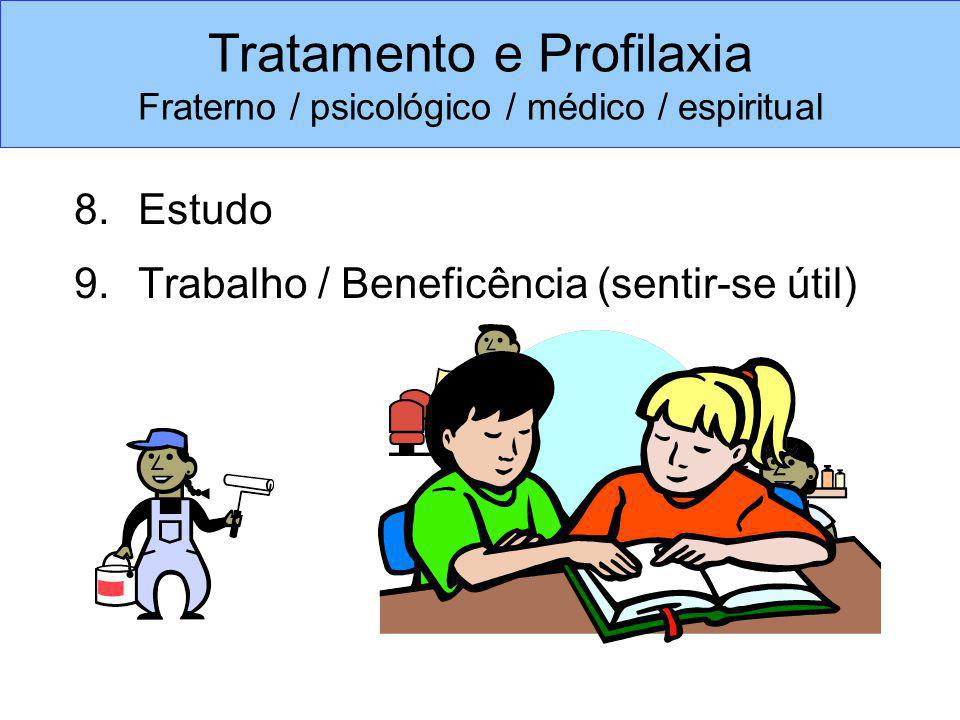 8.Estudo 9.Trabalho / Beneficência (sentir-se útil) Tratamento e Profilaxia Fraterno / psicológico / médico / espiritual