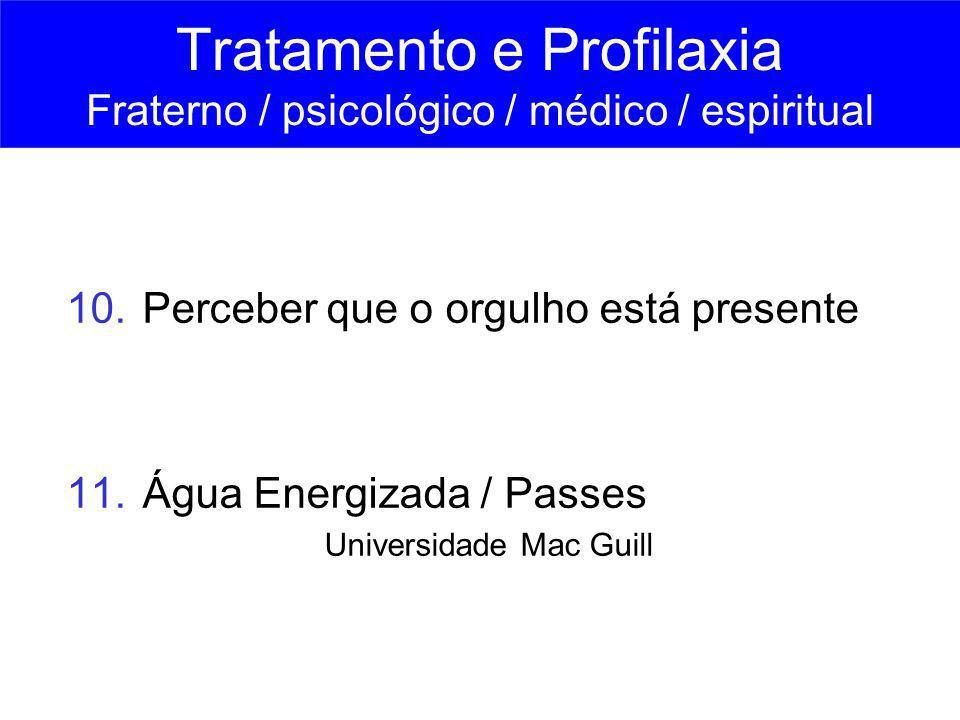 10. Perceber que o orgulho está presente 11. Água Energizada / Passes Universidade Mac Guill Tratamento e Profilaxia Fraterno / psicológico / médico /