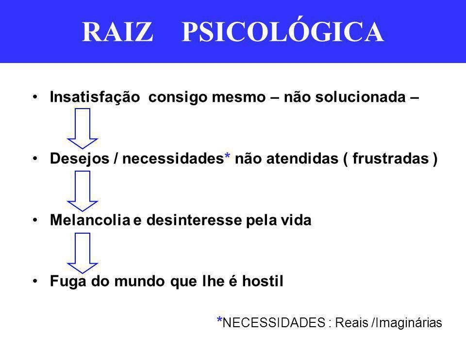 RAIZ PSICOLÓGICA Insatisfação consigo mesmo – não solucionada – Desejos / necessidades* não atendidas ( frustradas ) Melancolia e desinteresse pela vi