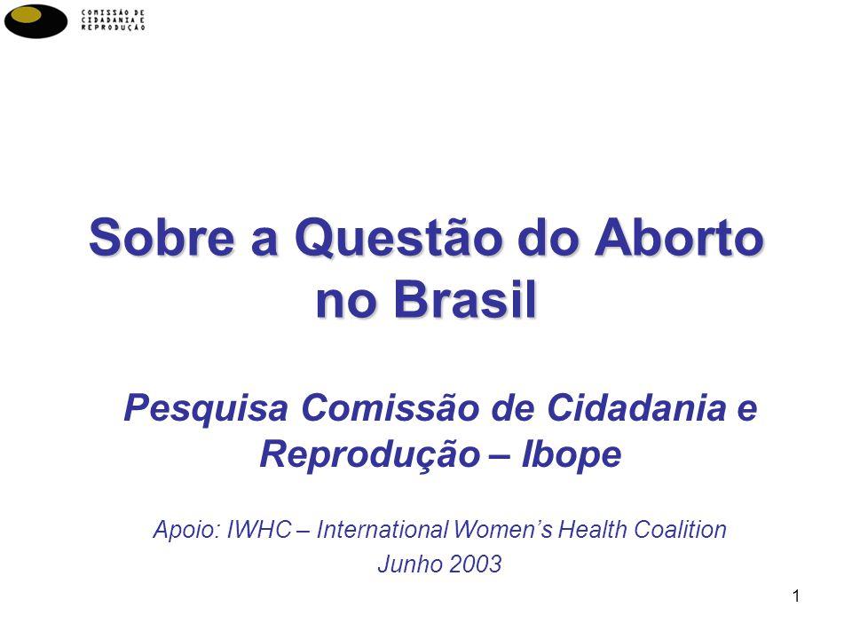 1 Sobre a Questão do Aborto no Brasil Pesquisa Comissão de Cidadania e Reprodução – Ibope Apoio: IWHC – International Womens Health Coalition Junho 2003