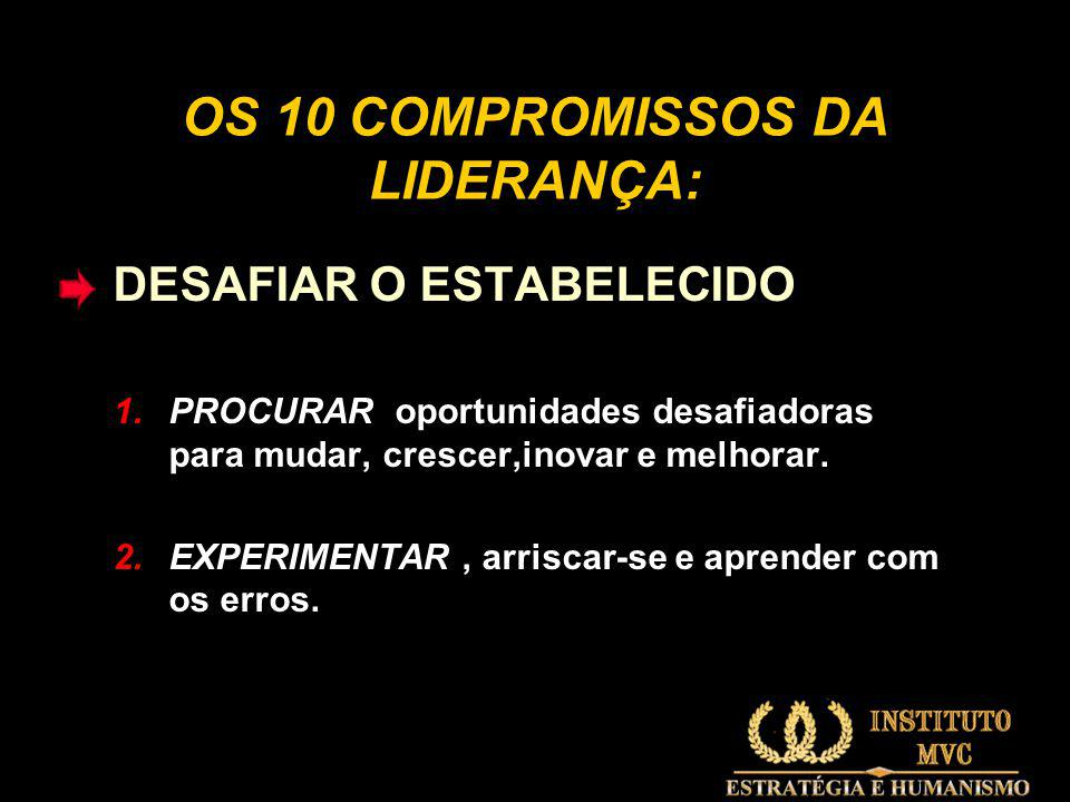 OS 10 COMPROMISSOS DA LIDERANÇA: DESAFIAR O ESTABELECIDO 1.PROCURAR oportunidades desafiadoras para mudar, crescer,inovar e melhorar.