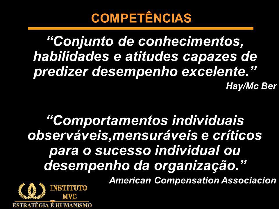 COMPETÊNCIAS Conjunto de conhecimentos, habilidades e atitudes capazes de predizer desempenho excelente.