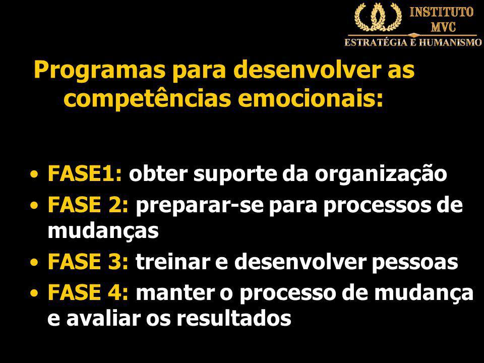 Programas para desenvolver as competências emocionais: FASE1: obter suporte da organização FASE 2: preparar-se para processos de mudanças FASE 3: treinar e desenvolver pessoas FASE 4: manter o processo de mudança e avaliar os resultados