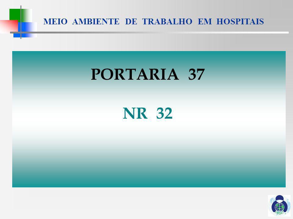 MEIO AMBIENTE DE TRABALHO EM HOSPITAIS PORTARIA 37 de 06 de Dezembro de 2002 NR - 32 : SEGURANÇA E SAÚDE NO TRABALHO EM ESTABELECIMENTOS DE ASSISTÊNCIA À SAÚDE