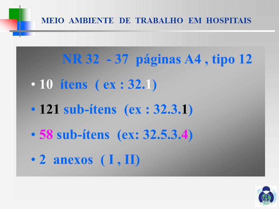 MEIO AMBIENTE DE TRABALHO EM HOSPITAIS 1.DO OBJETIVO E CAMPO DE APLICAÇÃO 2.