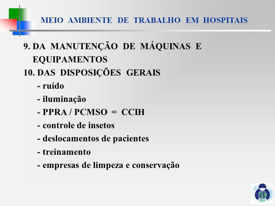 MEIO AMBIENTE DE TRABALHO EM HOSPITAIS 32.1 - DO OBJETIVO E CAMPO DE APLICAÇÃO......
