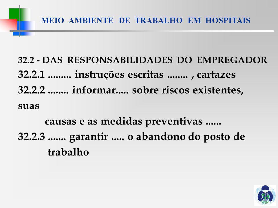 MEIO AMBIENTE DE TRABALHO EM HOSPITAIS 32.3 DOS DIREITOS DO TRABALHADOR 32.3.1 interromper suas tarefas.........