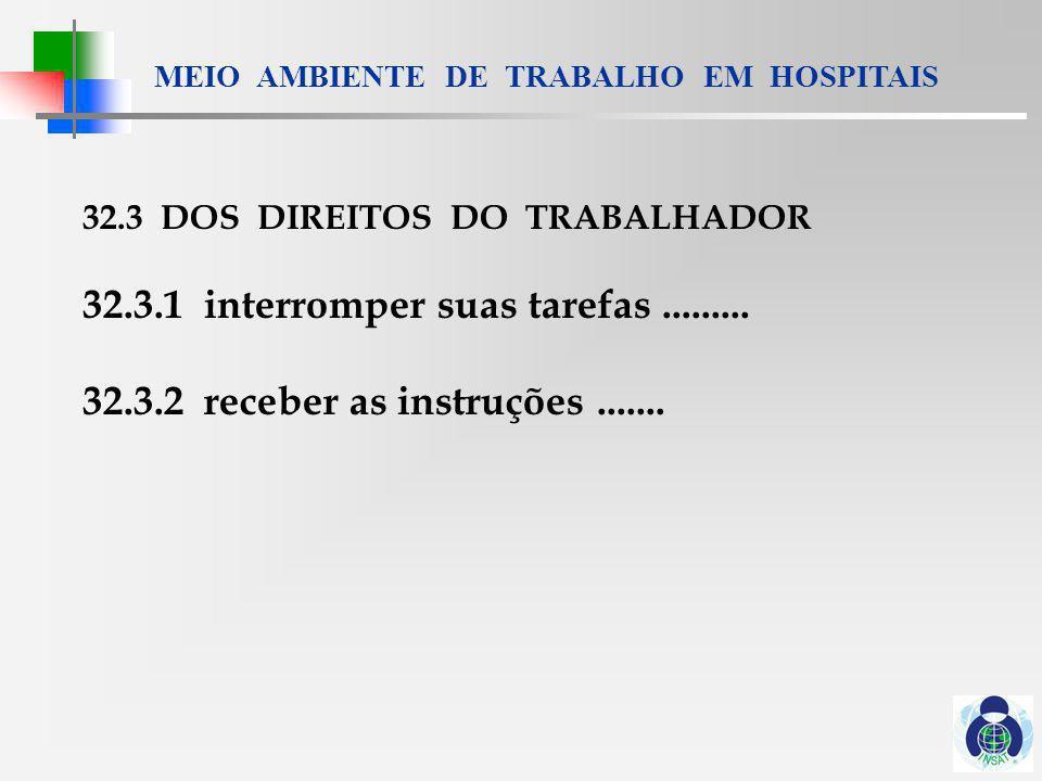 MEIO AMBIENTE DE TRABALHO EM HOSPITAIS 32.4 MEDIDAS DE PROTEÇÃO 32.4.1.....