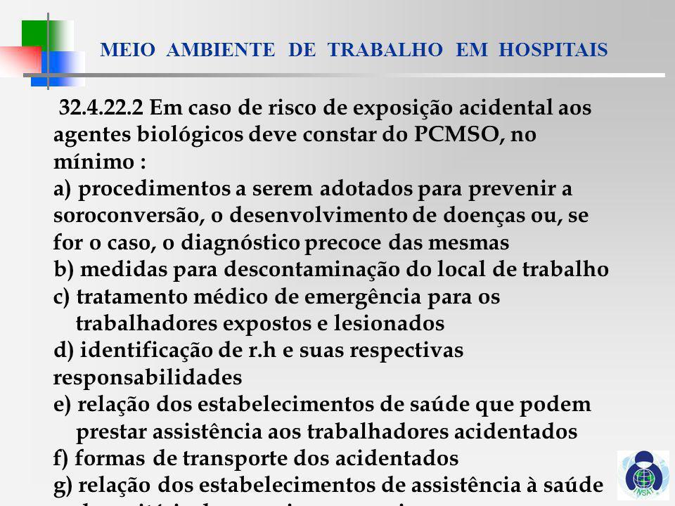 MEIO AMBIENTE DE TRABALHO EM HOSPITAIS 32.4.22.6 Sempre que houver vacinas eficazes.....