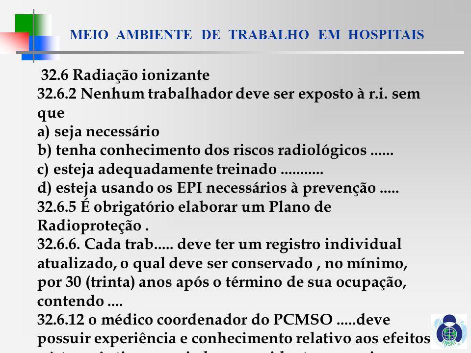 MEIO AMBIENTE DE TRABALHO EM HOSPITAIS 32.6.18 Do Serviço de Medicina Nuclear 32.6.18.9 O Plano de Radioproteção do Serviço de Medicina Nuclear deve atender.......