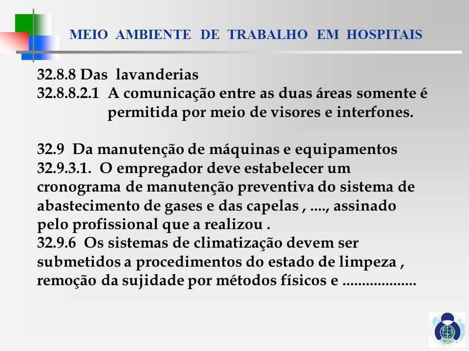 MEIO AMBIENTE DE TRABALHO EM HOSPITAIS 32.10 Das disposições gerais 32.10.1 a) ruído ; b) iluminação 32.10.2......