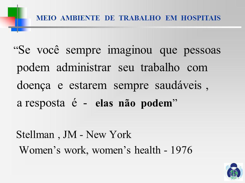 MEIO AMBIENTE DE TRABALHO EM HOSPITAIS De Morbis Artificum Diatriba Bernardino Ramazzini - 1700 Primeiras descrições dos riscos ocupacionais para os trabalhadores da saúde