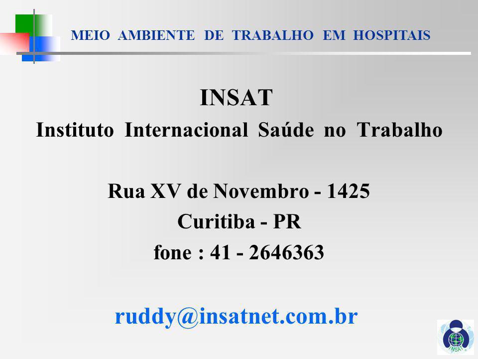 MEIO AMBIENTE DE TRABALHO EM HOSPITAIS INSAT Instituto Internacional Saúde no Trabalho Rua XV de Novembro - 1425 Curitiba - PR fone : 41 - 2646363 ruddy@insatnet.com.br