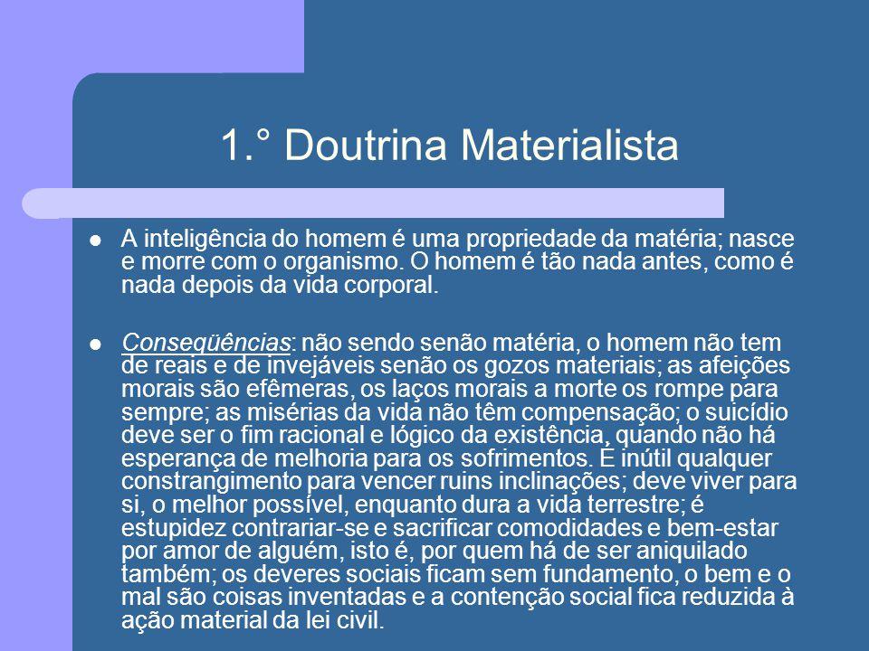 1.° Doutrina Materialista A inteligência do homem é uma propriedade da matéria; nasce e morre com o organismo. O homem é tão nada antes, como é nada d