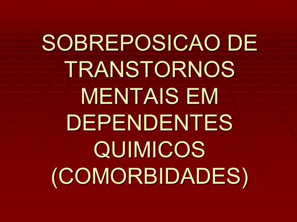 SOBREPOSICAO DE TRANSTORNOS MENTAIS EM DEPENDENTES QUIMICOS (COMORBIDADES)