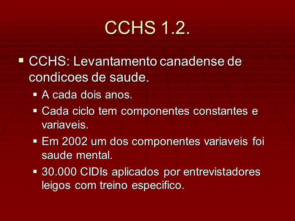 CCHS 1.2. CCHS: Levantamento canadense de condicoes de saude.