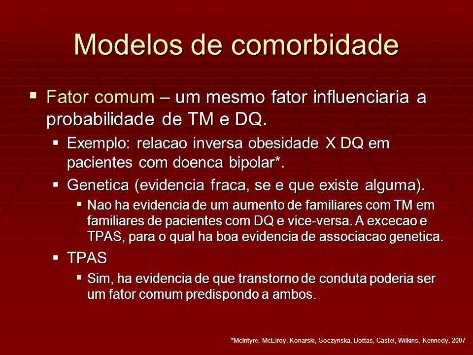 Modelos de comorbidade Fator comum – um mesmo fator influenciaria a probabilidade de TM e DQ.