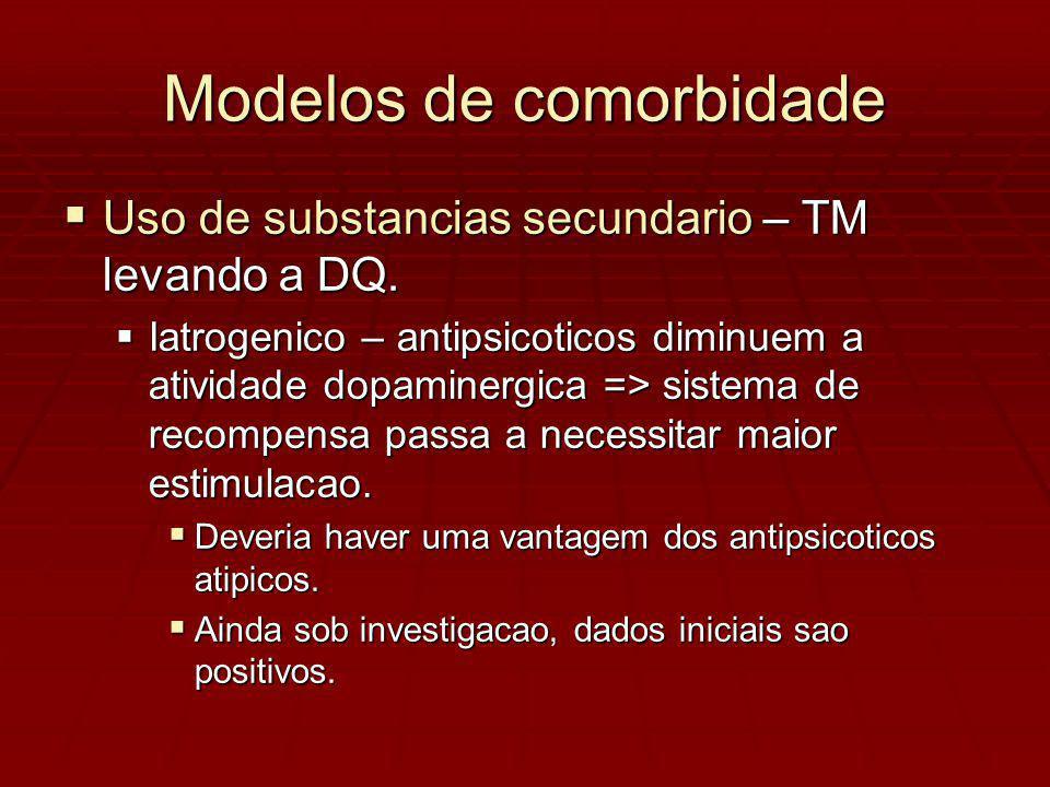 Modelos de comorbidade Uso de substancias secundario – TM levando a DQ.