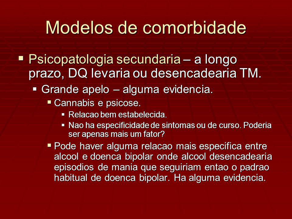 Modelos de comorbidade Psicopatologia secundaria – a longo prazo, DQ levaria ou desencadearia TM.