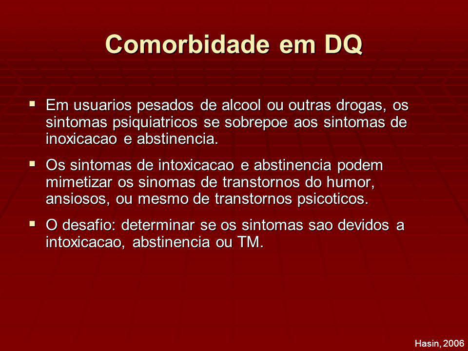 Comorbidade em DQ Em usuarios pesados de alcool ou outras drogas, os sintomas psiquiatricos se sobrepoe aos sintomas de inoxicacao e abstinencia.
