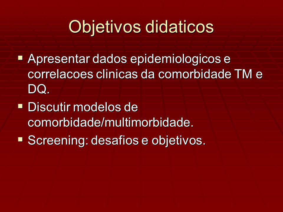 Objetivos didaticos Apresentar dados epidemiologicos e correlacoes clinicas da comorbidade TM e DQ.