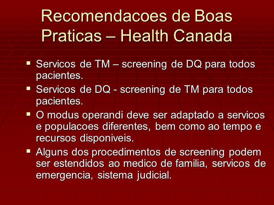 Recomendacoes de Boas Praticas – Health Canada Servicos de TM – screening de DQ para todos pacientes.