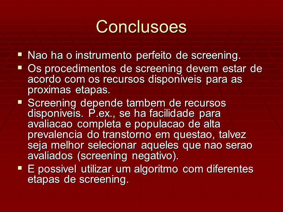 Conclusoes Nao ha o instrumento perfeito de screening.