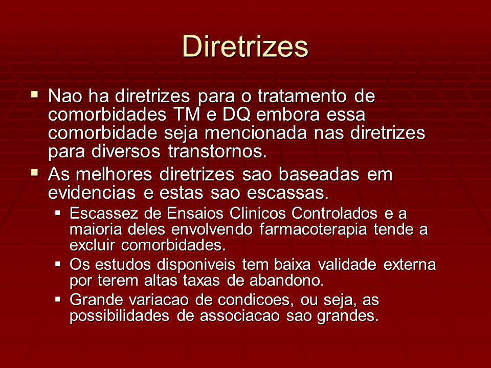 Diretrizes Nao ha diretrizes para o tratamento de comorbidades TM e DQ embora essa comorbidade seja mencionada nas diretrizes para diversos transtornos.