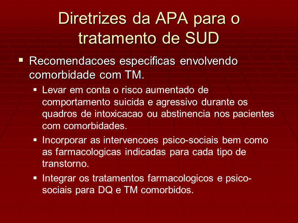 Diretrizes da APA para o tratamento de SUD Recomendacoes especificas envolvendo comorbidade com TM.