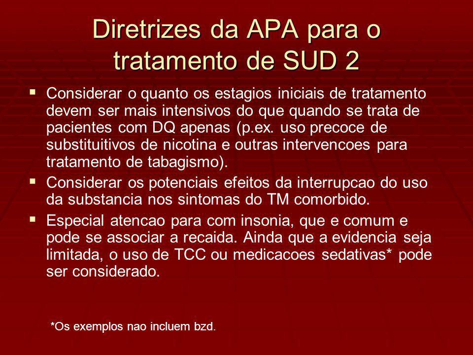 Diretrizes da APA para o tratamento de SUD 2 Considerar o quanto os estagios iniciais de tratamento devem ser mais intensivos do que quando se trata de pacientes com DQ apenas (p.ex.