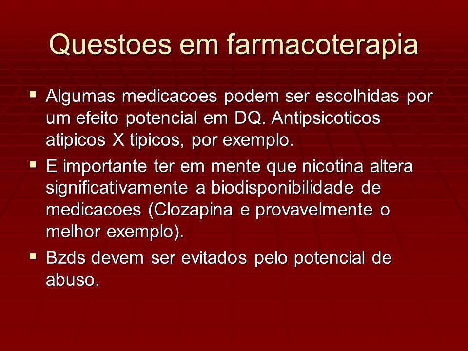 Algumas medicacoes podem ser escolhidas por um efeito potencial em DQ.