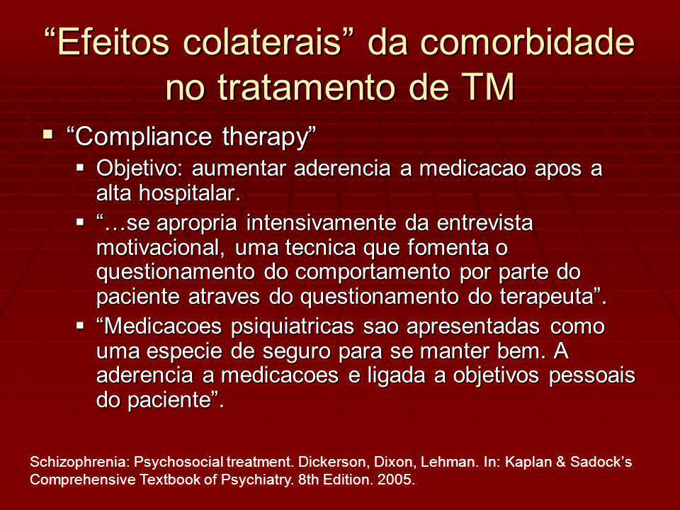 Efeitos colaterais da comorbidade no tratamento de TM Compliance therapy Compliance therapy Objetivo: aumentar aderencia a medicacao apos a alta hospitalar.