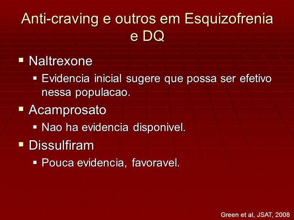 Anti-craving e outros em Esquizofrenia e DQ Naltrexone Naltrexone Evidencia inicial sugere que possa ser efetivo nessa populacao.