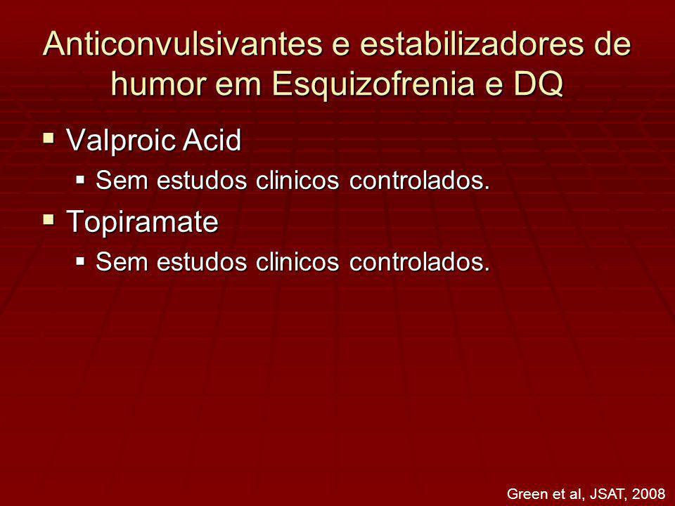 Anticonvulsivantes e estabilizadores de humor em Esquizofrenia e DQ Valproic Acid Valproic Acid Sem estudos clinicos controlados.