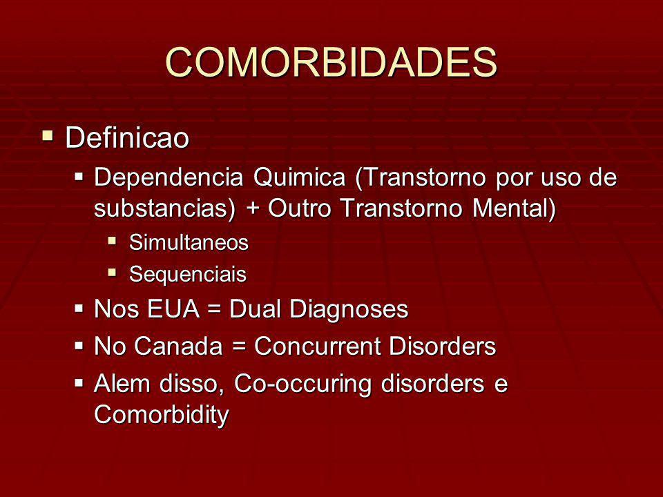 COMORBIDADES Definicao Definicao Dependencia Quimica (Transtorno por uso de substancias) + Outro Transtorno Mental) Dependencia Quimica (Transtorno por uso de substancias) + Outro Transtorno Mental) Simultaneos Simultaneos Sequenciais Sequenciais Nos EUA = Dual Diagnoses Nos EUA = Dual Diagnoses No Canada = Concurrent Disorders No Canada = Concurrent Disorders Alem disso, Co-occuring disorders e Comorbidity Alem disso, Co-occuring disorders e Comorbidity