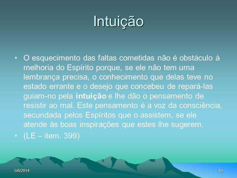 5/6/201410 Intuição O esquecimento das faltas cometidas não é obstáculo à melhoria do Espírito porque, se ele não tem uma lembrança precisa, o conheci