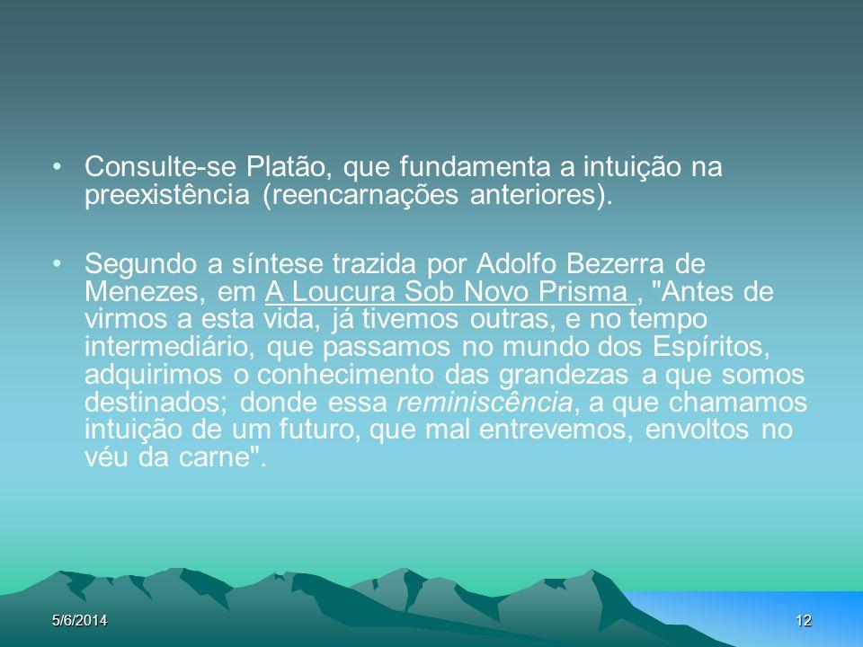 5/6/201412 Consulte-se Platão, que fundamenta a intuição na preexistência (reencarnações anteriores). Segundo a síntese trazida por Adolfo Bezerra de