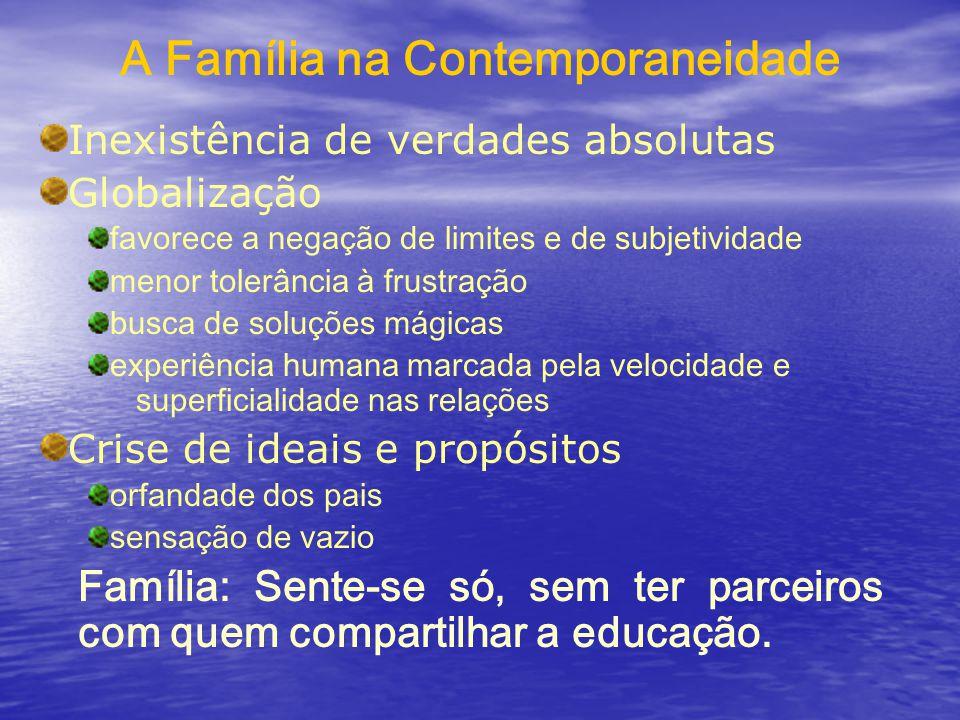 A Família na Contemporaneidade Inexistência de verdades absolutas Globalização favorece a negação de limites e de subjetividade menor tolerância à fru