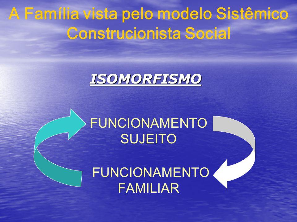 A Família vista pelo modelo Sistêmico Construcionista Social FUNCIONAMENTO SUJEITO FUNCIONAMENTO FAMILIAR ISOMORFISMO