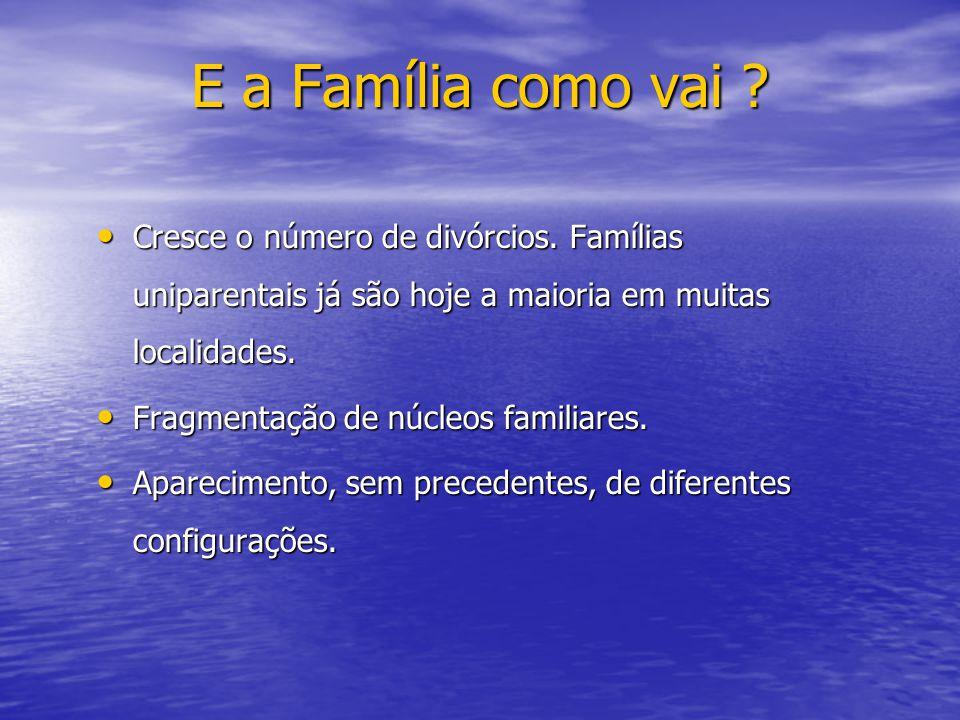 E a Família como vai ? Cresce o número de divórcios. Famílias uniparentais já são hoje a maioria em muitas localidades. Cresce o número de divórcios.