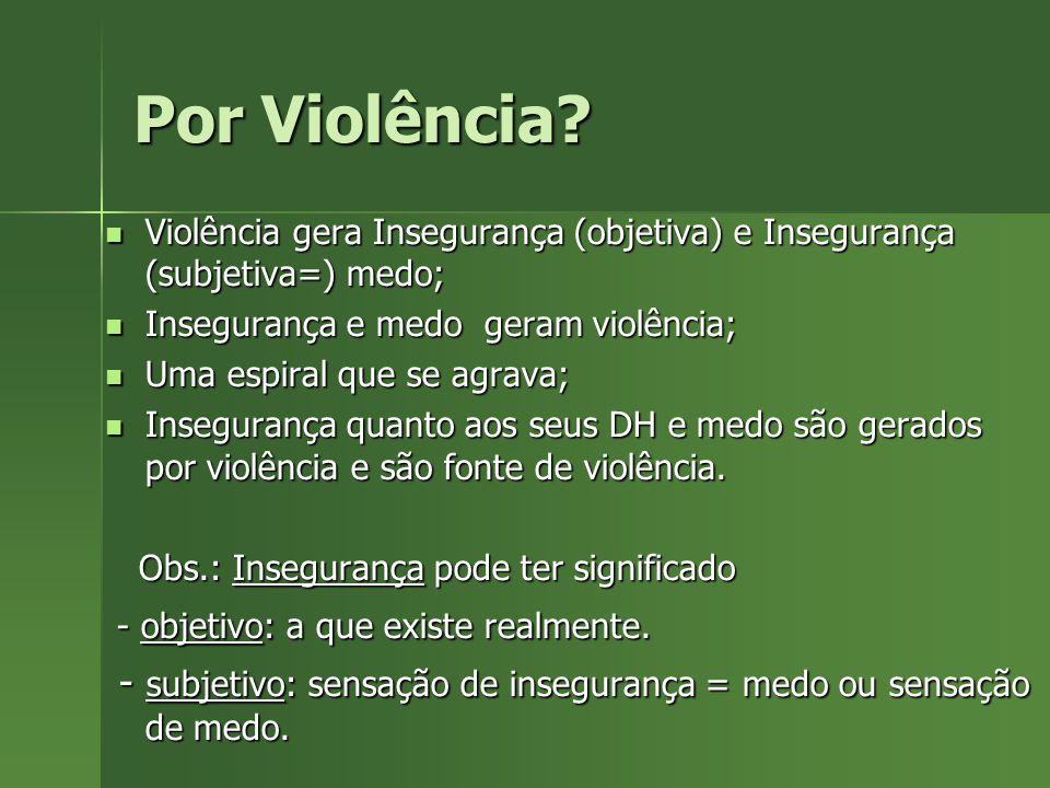 Por Violência? Violência gera Insegurança (objetiva) e Insegurança (subjetiva=) medo; Violência gera Insegurança (objetiva) e Insegurança (subjetiva=)