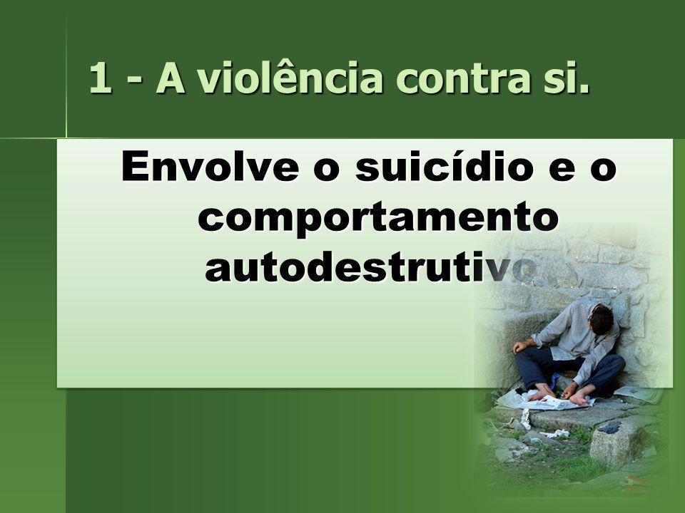 1 - A violência contra si. Envolve o suicídio e o comportamento autodestrutivo.