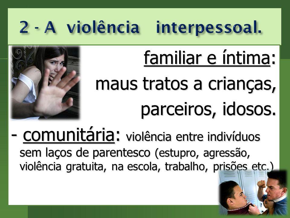 familiar e íntima: familiar e íntima: maus tratos a crianças, parceiros, idosos.