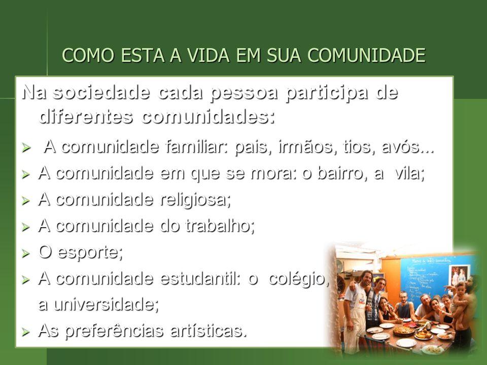 Na sociedade cada pessoa participa de diferentes comunidades: A comunidade familiar: pais, irmãos, tios, avós...